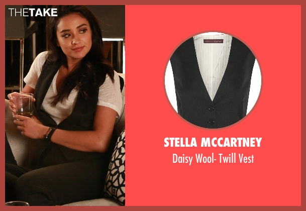 Stella McCartney black vest from Pretty Little Liars seen with Emily Fields (Shay Mitchell)