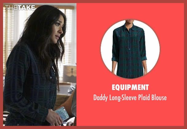 Equipment blue blouse from Pretty Little Liars seen with Emily Fields (Shay Mitchell)