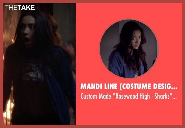 Mandi Line (Costume Designer) blue jacket from Pretty Little Liars seen with Emily Fields (Shay Mitchell)