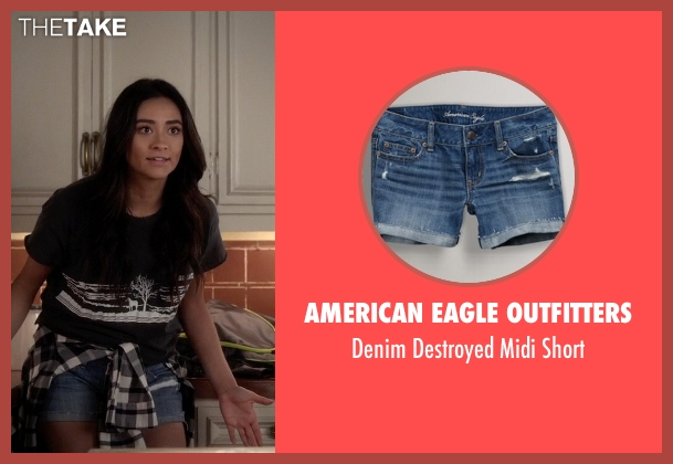 American Eagle Outfitters blue short from Pretty Little Liars seen with Emily Fields (Shay Mitchell)