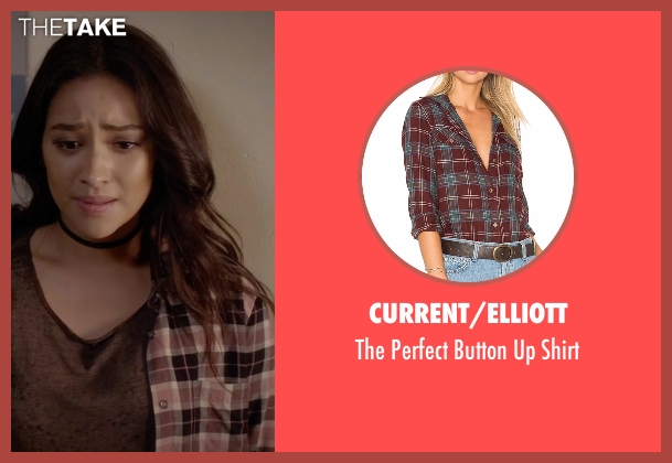 Current/Elliott brown shirt from Pretty Little Liars seen with Emily Fields (Shay Mitchell)