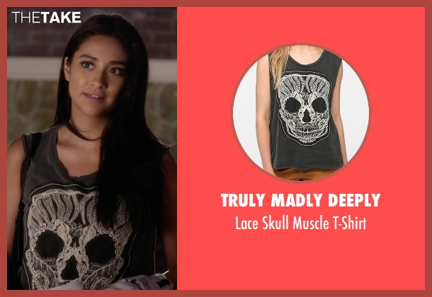 Truly Madly Deeply  gray t-shirt from Pretty Little Liars seen with Emily Fields (Shay Mitchell)