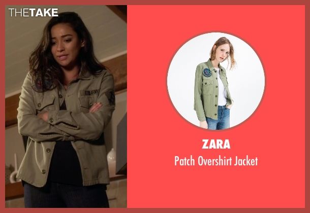 Zara green jacket from Pretty Little Liars seen with Emily Fields (Shay Mitchell)