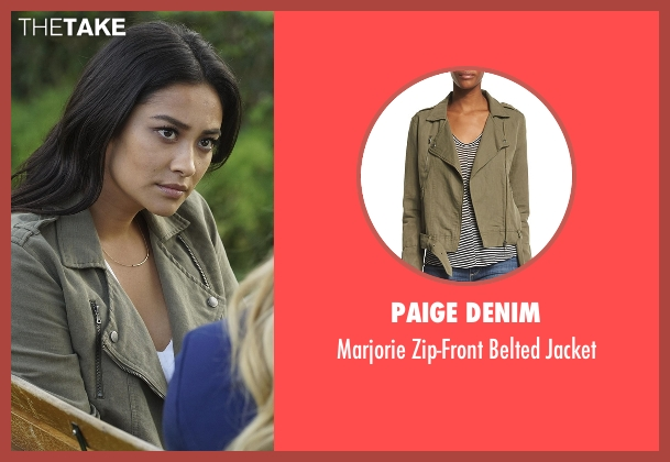 Paige Denim green jacket from Pretty Little Liars seen with Emily Fields (Shay Mitchell)