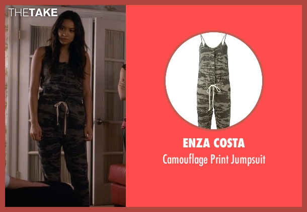 Enza Costa green jumpsuit from Pretty Little Liars seen with Emily Fields (Shay Mitchell)