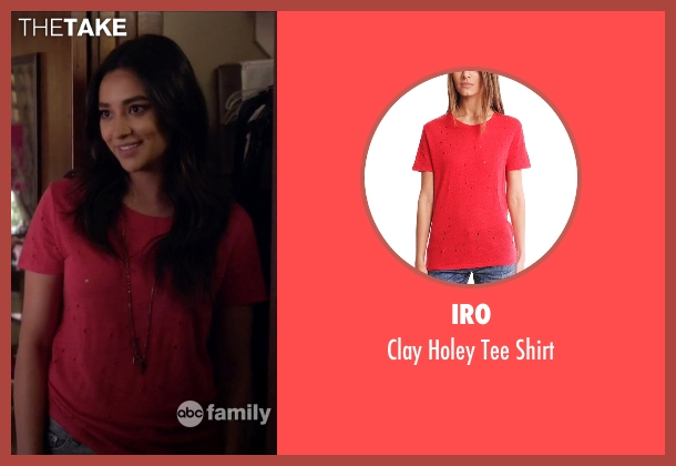 Iro red shirt from Pretty Little Liars seen with Emily Fields (Shay Mitchell)