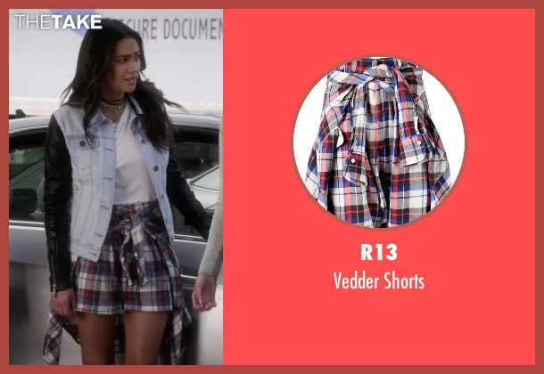 R13 red shorts from Pretty Little Liars seen with Emily Fields (Shay Mitchell)