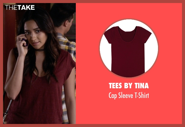 Tees By Tina red t-shirt from Pretty Little Liars seen with Emily Fields (Shay Mitchell)