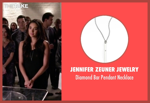 Jennifer Zeuner Jewelry silver necklace from Pretty Little Liars seen with Emily Fields (Shay Mitchell)