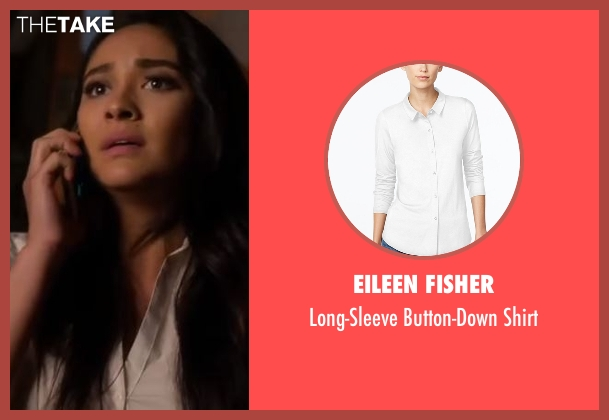 Eileen Fisher white shirt from Pretty Little Liars seen with Emily Fields (Shay Mitchell)