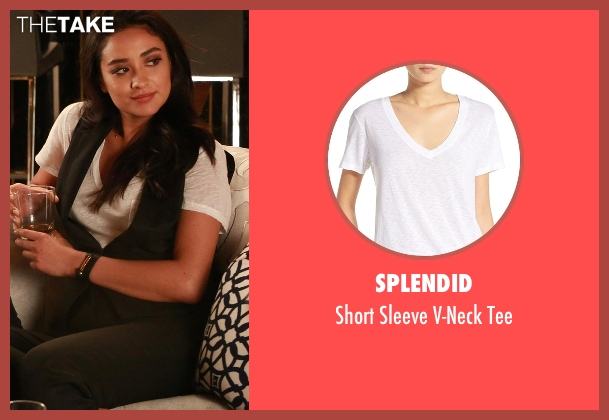 Splendid white tee from Pretty Little Liars seen with Emily Fields (Shay Mitchell)