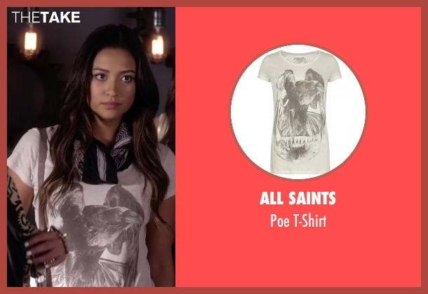 All Saints white t-shirt from Pretty Little Liars seen with Emily Fields (Shay Mitchell)