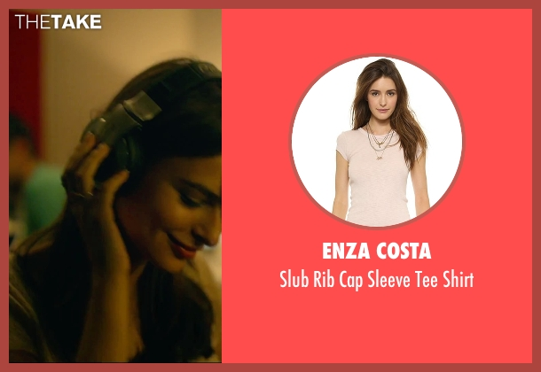 Enza Costa beige shirt from We Are Your Friends seen with Emily Ratajkowski (Sophie)
