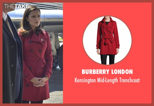 Burberry London red trenchcoat from Designated Survivor seen with Emily Rhodes (Italia Ricci)