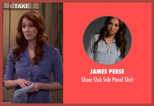 James Perse blue shirt from The Big Bang Theory seen with Emily Sweeney (Laura Spencer)