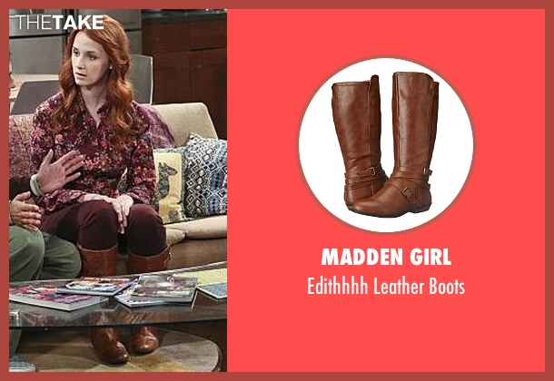 Madden Girl brown boots from The Big Bang Theory seen with Emily Sweeney (Laura Spencer)