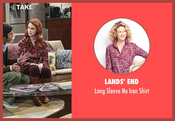 Lands' End red shirt from The Big Bang Theory seen with Emily Sweeney (Laura Spencer)