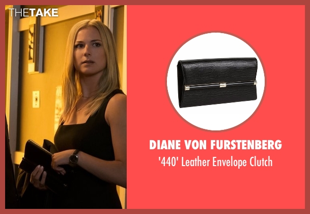 Diane Von Furstenberg black clutch from Captain America: Civil War seen with Emily VanCamp (Sharon Carter)