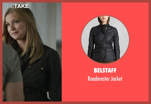 Belstaff black jacket from Captain America: Civil War seen with Emily VanCamp (Sharon Carter)
