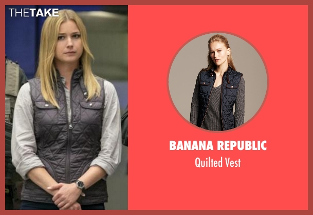 Banana Republic  blue vest from Captain America: Civil War seen with Emily VanCamp (Sharon Carter)