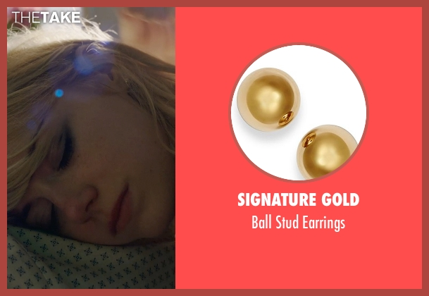 Signature Gold gold earrings from Birdman seen with Emma Stone (Sam)