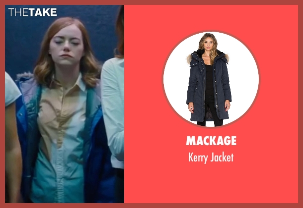 Mackage blue jacket from La La Land seen with Emma Stone (Mia)