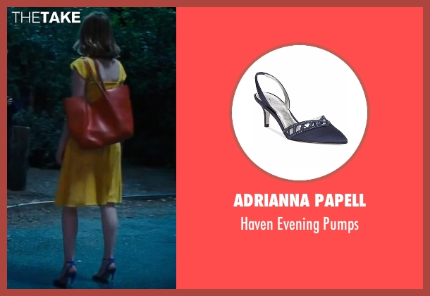 Adrianna Papell blue pumps from La La Land seen with Emma Stone (Mia)