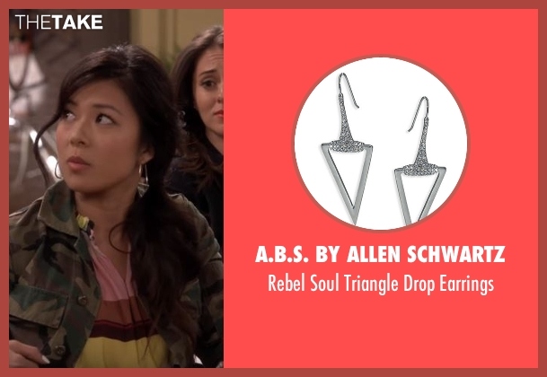 A.B.S. By Allen Schwartz  silver earrings from The Great Indoors seen with Emma (Christine Ko)