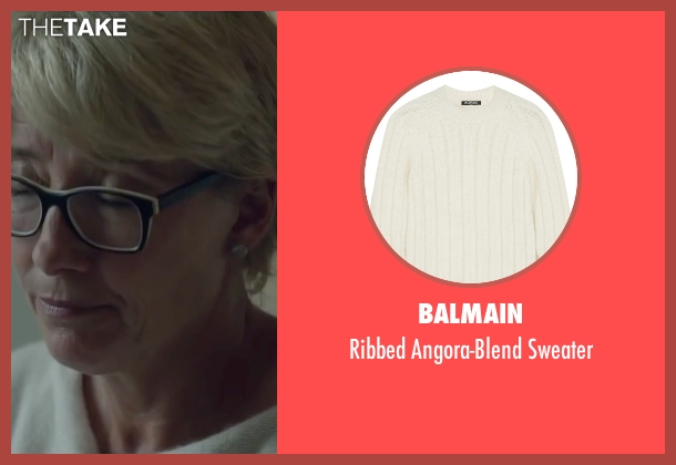 Balmain white sweater from Burnt seen with Emma Thompson (Dr. Rosshilde)