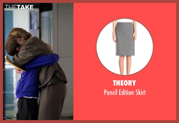 Theory gray skirt from Love Actually seen with Emma Thompson (Karen)
