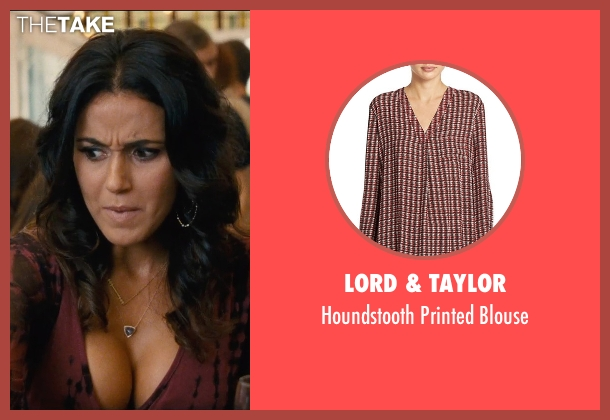Lord & Taylor red blouse from Entourage seen with Emmanuelle Chriqui (Sloan)