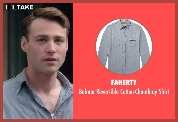 Faherty blue shirt from Brooklyn seen with Emory Cohen (Tony)