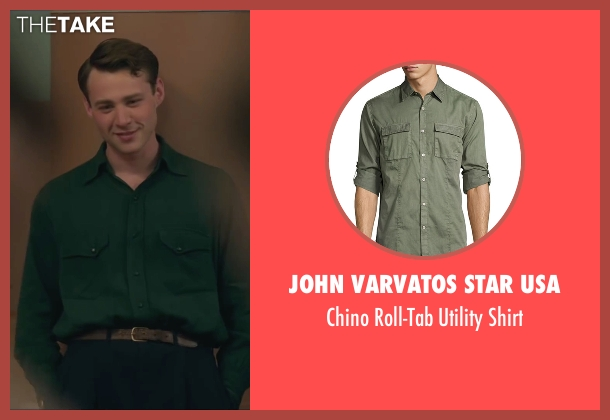 John Varvatos Star USA green shirt from Brooklyn seen with Emory Cohen (Tony)