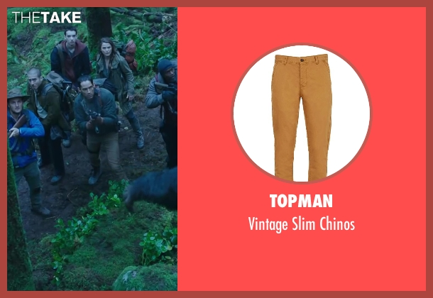 TOPMAN brown chinos from Dawn of the Planet of the Apes seen with Enrique Murciano (Finney)