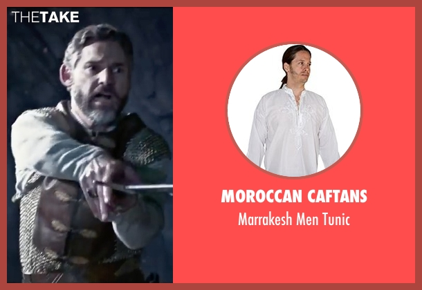 Moroccan Caftans white tunic from King Arthur: Legend of the Sword seen with Eric Bana (Uther Pendragon)