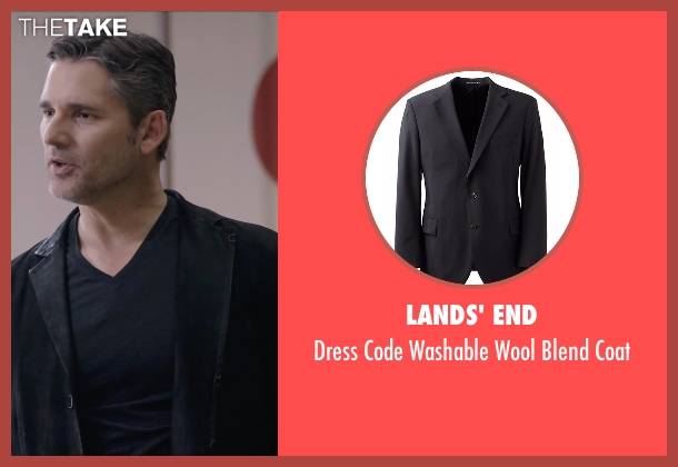 Lands' End black coat from Special Correspondents seen with Eric Bana (Frank Bonneville)