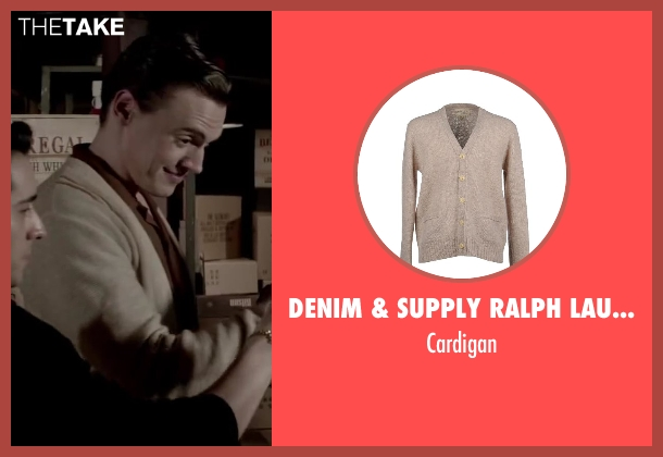 DENIM & SUPPLY RALPH LAUREN beige cardigan from Jersey Boys seen with Erich Bergen (Bob Gaudio)