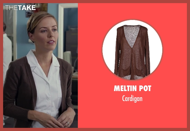 Meltin Pot brown cardigan from Dumb and Dumber To seen with Erin Allin O'Reilly (Nurse 1)