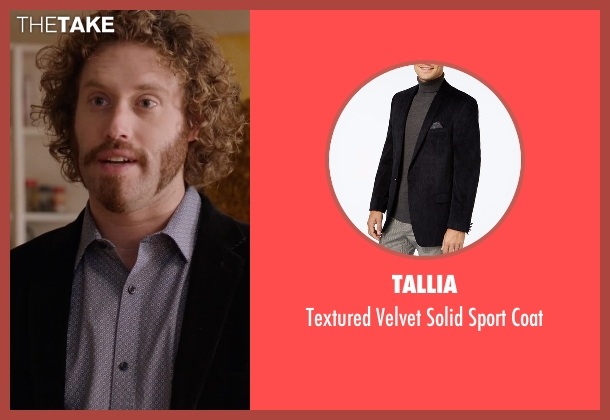 Tallia black coat from Silicon Valley seen with Erlich Bachman (T.J. Miller)