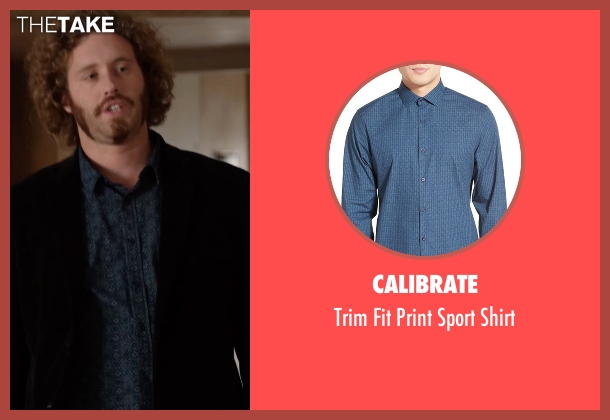 Calibrate blue shirt from Silicon Valley seen with Erlich Bachman (T.J. Miller)