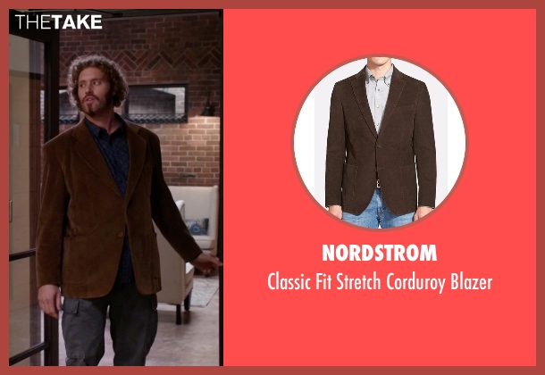 Nordstrom  brown blazer from Silicon Valley seen with Erlich Bachman (T.J. Miller)