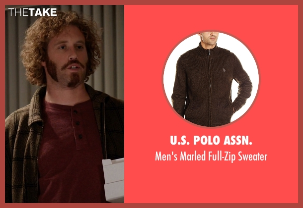 U.S. Polo Assn. brown sweater from Silicon Valley seen with Erlich Bachman (T.J. Miller)