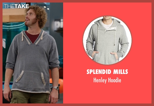 Splendid Mills gray hoodie from Silicon Valley seen with Erlich Bachman (T.J. Miller)