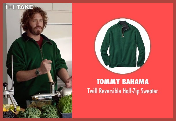 Tommy Bahama green sweater from Silicon Valley seen with Erlich Bachman (T.J. Miller)