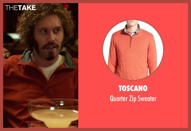 Toscano orange sweater from Silicon Valley seen with Erlich Bachman (T.J. Miller)