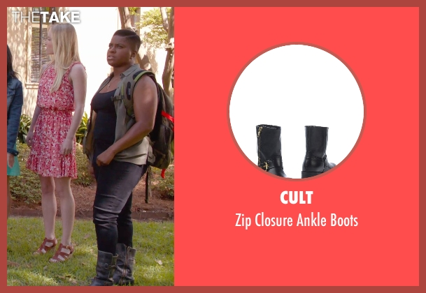 Cult black boots from Pitch Perfect 2 seen with Ester Dean (Cynthia-Rose Adams)