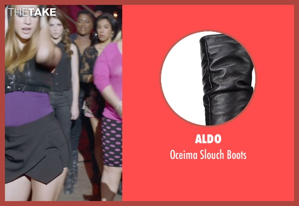 Aldo black boots from Pitch Perfect 2 seen with Ester Dean (Cynthia-Rose Adams)