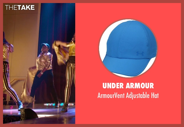 Under Armour blue hat from Pitch Perfect 2 seen with Ester Dean (Cynthia-Rose Adams)