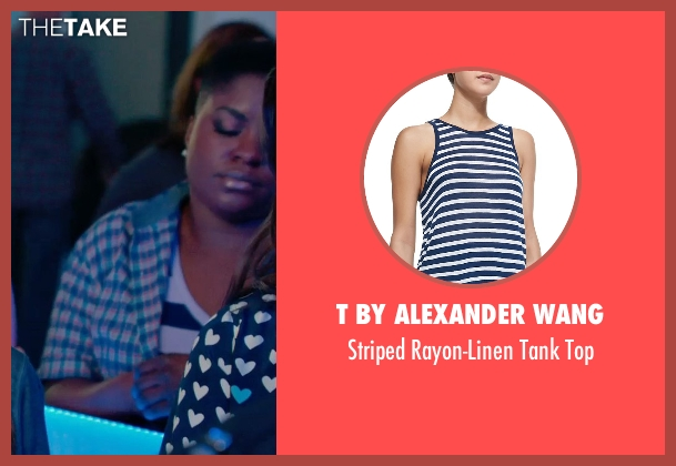 T by Alexander Wang blue top from Pitch Perfect 2 seen with Ester Dean (Cynthia-Rose Adams)