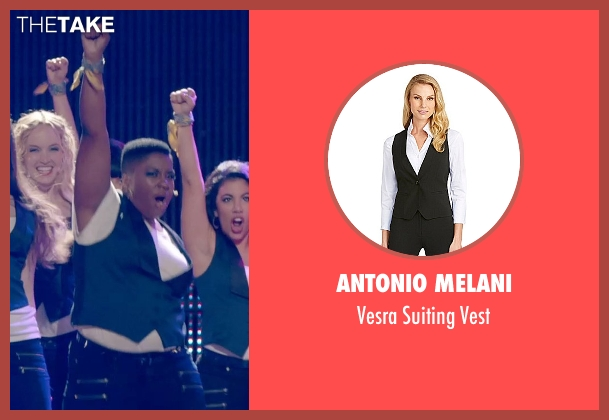 Antonio Melani blue vest from Pitch Perfect 2 seen with Ester Dean (Cynthia-Rose Adams)